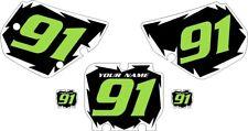 1990-1991 Kawasaki KX125 Pre-Printed Black Backgrounds White Shock Green Number