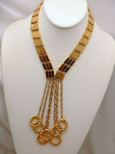 Tassel Necklace Bars and Twisted Circles Goldtone Stunning