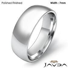 Men's Wedding Band Plain Dome Comfort Light Ring 7mm 14k Gold White 9gm 12-12.75