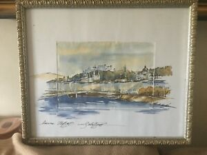 Framed Signed Picture D`Antonio Art Gallery Naples Italy I Think Its Watercolour