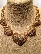 Womens STATEMENT Crystal Diamante LOVE HEARTS Collar Chain Gold Chunky Necklace
