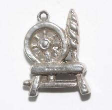 Vintage 3d Wool Spinning Wheel Sterling Silver Bracelet Charm (3.6g)
