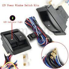 Universal 12V Power Window Glass Lock Rocker Lift Switch+Wiring Harness Kits