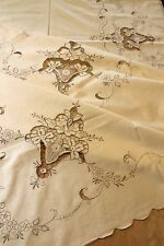 Vtg Madeira Embroidered Tablecloth 72x90 Roses Unused + Napkins Bridal Holiday