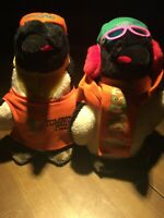 """(2) Rare Tombstone Pizza Emperor Penguins Plush 14"""" Tall. Free Shipping."""