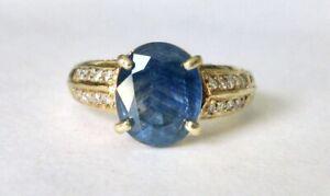 $6,840 3.5ct Natural Sri Lankan Sapphire diamonds 14k Yellow Ring