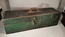 "AMAZING Authentic Antique Dark Green Handmade Carpenter Tool Box - 34"" Patina!"