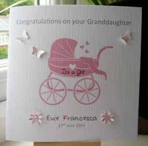 Handmade Personalised New Baby Girl Boy Birth Card Proud Grandparents
