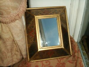 Old Vintage Art Deco Style Peru Wall or Dressing Mirror Glass Gold Framed Fine