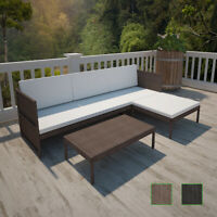 Patio Rattan & Wicker Lounge Set w/ 3-seater Sofa Garden Furniture Black/Brown