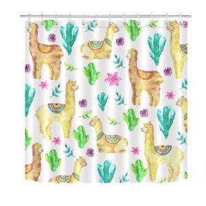 """Watercolor Alpaca Llama Cactus Floral Shower Curtain Set Bathroom Decor 72x72"""""""