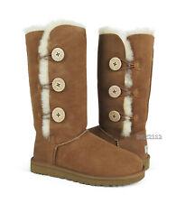 UGG Australia Bailey Button Triplet Chestnut Suede Fur Boots Womens Size 10 *NEW