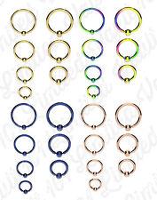 GOLD BLUE RAINBOW Ball Closure Captive Ring BCR, Lip Nose Ear Tragus Septum ring