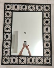 Large Rectangular mirror with black crystal beads !!!! Home decor metal wall art
