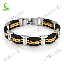 Titanium Stainless Steel Gold Silver Men's Bracelet Link Chain Bangle 8.3'' New