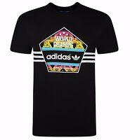 Men's New Adidas Originals Trefoil Logo T-Shirt Top - Black - Retro Vintage