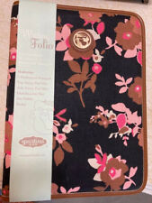 Nwt Spartina Stoddard Folio Notebook W Ruled Pad Floral Black with Pink/Brown