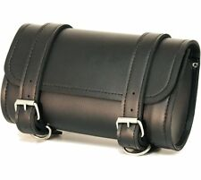 Handlebar Leather Bag Motorcycle Storage Tool Pouch Roll Barrel Bag Windshield