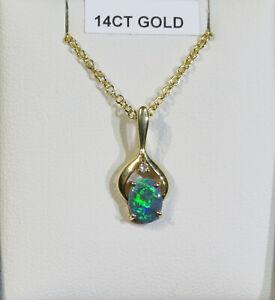 Solid Black Opal Pendant, Oval (8x6 mm), +dia ,Solid Gold 18K 750,  Aust Opal