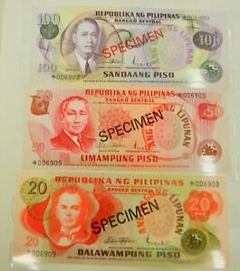 REPUBLIKA NG PILIPINAS Specimen  BANK NOTE set x 6.  UNC