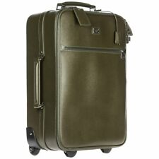 DOLCE GABBANA Green Leather Suitcase Luggage Trolley Travel Bag AUTHENTIC NEW