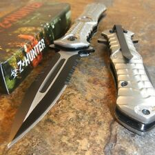 ZOMBIE HUNTER Spring Assisted TOXIC SILVER DAGGER SPEAR POINT KNIFE NEW!!!