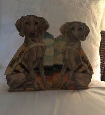 Vintage Bookends Wood Dog Search MB Design 1992
