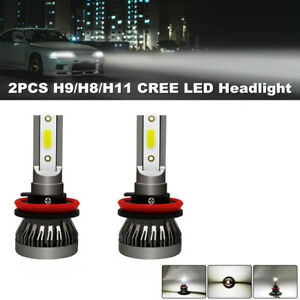 2PCS H9/H8/H11 CREE LED Headlight 255000LM Beam Bulb 6000K HID Car Fog Light Kit