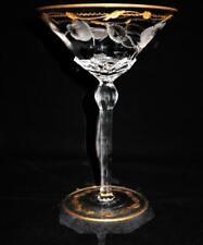 "Moser PAULA Hand Cut Art Nouveau Crystal Martini Glass Gold Leaf Pattern, 6 3/4"""