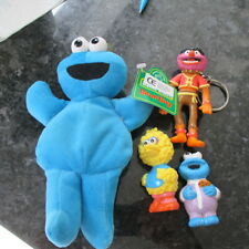VINTAGE SESAME STREET 3 PVC/RUBBER FIGURES ANIMAL ETC: + BEAN BAG  LOOK!!