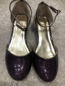 Monsoon Girls Purple Sparkly Shoes Size 4