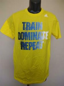 New Train Dominate Repeat Youth Size L Large 14/16 Yellow Adidas Shirt