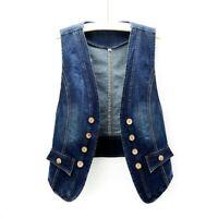 Women Denim Waistcoat Gilet Vest Jeans Fade Fitted Lapel Sleeveless Jacket Tops