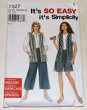 Simplicity 7327 Pattern Split Skirt Vest Misses Size XS-XL Uncut