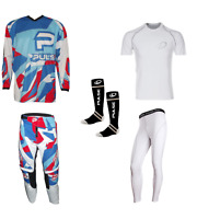 PULSE STORM RED & BLUE MOTOCROSS MX ENDURO BMX MTB KIT + BASE LAYERS & SOCKS