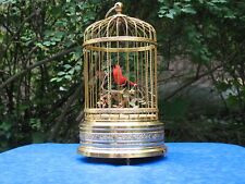 Vintage Japanese Singing Bird Cage Music Box Mechanical Automation All Brass