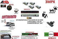 KIT VIDEOSORVEGLIANZA AHD IP CLOU DVR 8 CANALI 4 TELECAMERE AHD 3MP HD 48LED 1TB