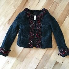 NWT J CREW COLLECTION FLORAL EMBELLISHED WOOL BLAZER SZ 2 IN GREEN ONE OF A KIND