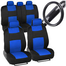 Sporty Full Set Blue Car Seat Covers W/ Black Carbon Fab Steering Wheel Cover