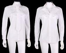 JEAN PAUL GAULTIER Femme White Cotton Necktie Button Down Shirt Blouse Top Sz 12