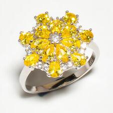 Brazilian Yellow Topaz, White Topaz 925 Sterling Silver Ring S.9 M267579