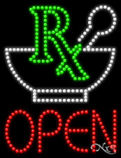 """New """"Rx Open"""" Pharmacy 26x20 Solid/Animated Led Sign W/Custom Options 21766"""