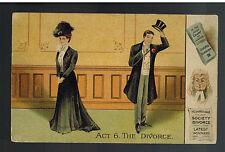 1908 Three Anchor bay England Picture Postcard Cover Divorce Cartoon