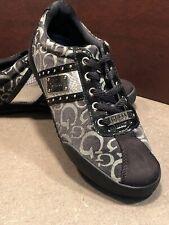 Guess Signature Monogram Canvas Suede Sneakers Shoes Athletic Women's Black 8.5