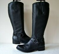 "CLARK`S ""MORTIMER JUDY"" ITALIAN BLACK LEATHER KNEE HIGH BOOTS UK 4D RRP £160"