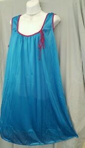 """Only Necessities Blue Pink  Nightgown  Calf Sleeveless Size Large  54"""" Bust"""