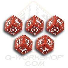Q-WORKSHOP Dice - Set de 5 Mini d6 UK Battle (Rouge/Blanc) *NEW*