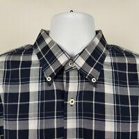 Peter Millar Mens Blue Gray Plaid Check Dress Button Shirt Size XL Extra Large