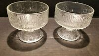 Vintage Indiana Depression Glass Frosted Ice Footed Sherbet Cups Tree Bark