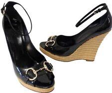 Gucci Black Patent Gold Horsebit Wedge Sandal Heels Platform Shoes $595